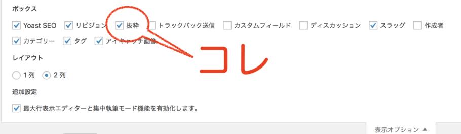 表示オプションの表示画面