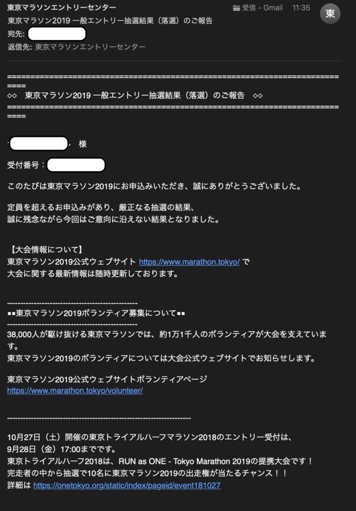 落選通知のメール